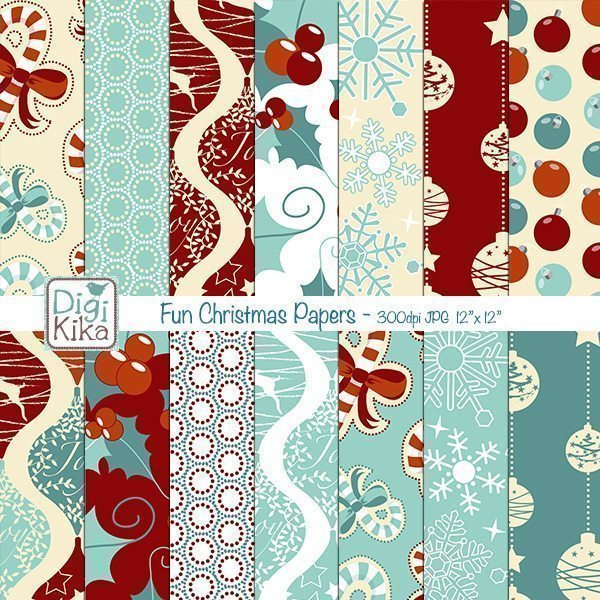 Christmas Seamless Papers Digital Papers & Background Kika Digital    Mygrafico