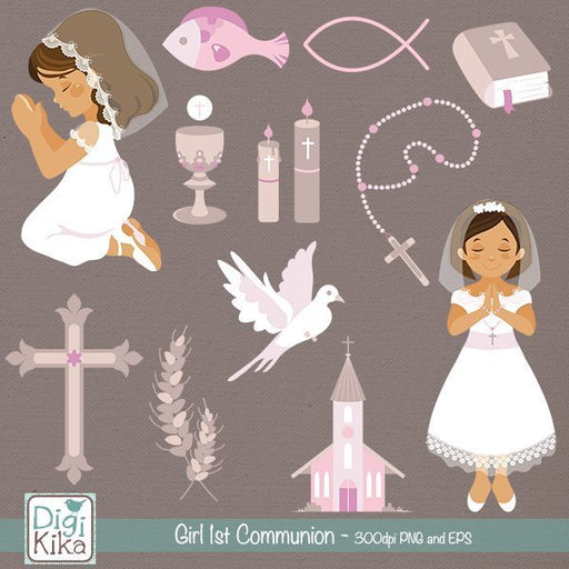 Girl First Communion Clipart  Kika Digital    Mygrafico