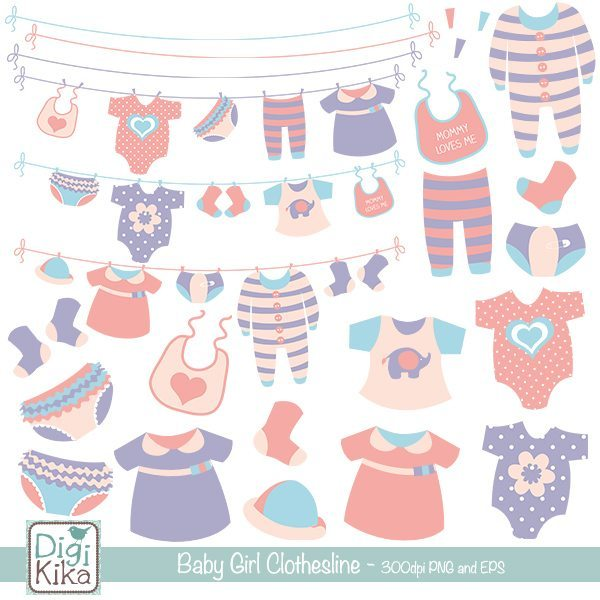 Baby Girl Clothesline Clip Art  Kika Digital    Mygrafico