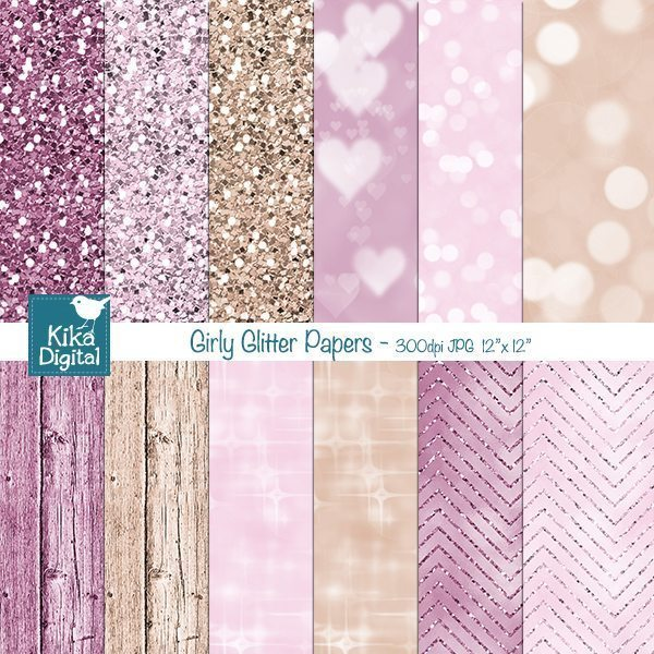 Girly Glitter Papers  Kika Digital    Mygrafico