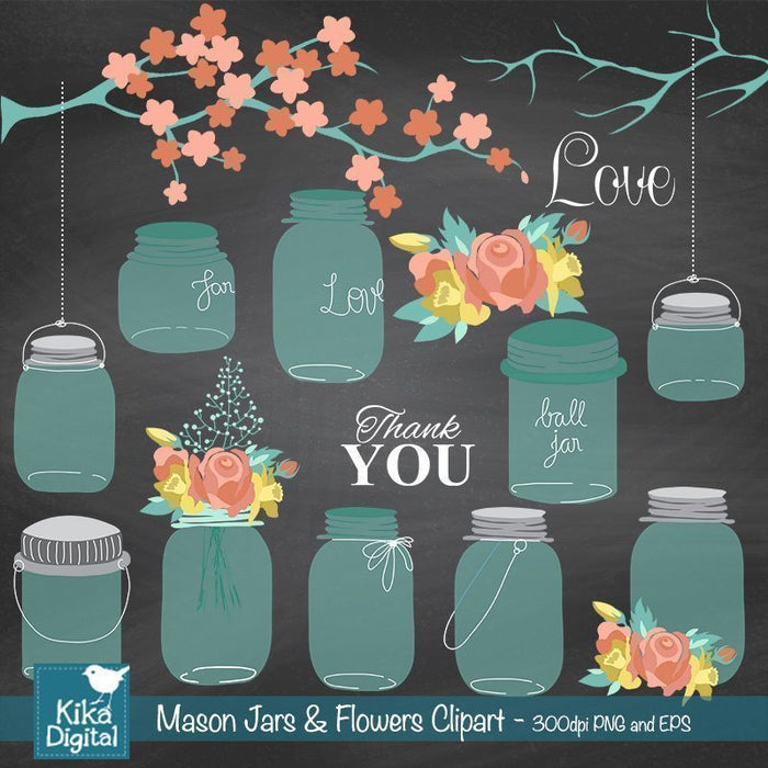 Mason Jar and Flowers Clipart  Kika Digital    Mygrafico