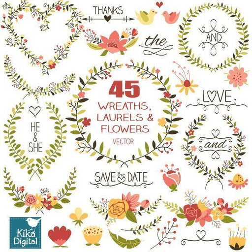 Wedding Laurels and Wreaths  Kika Digital    Mygrafico