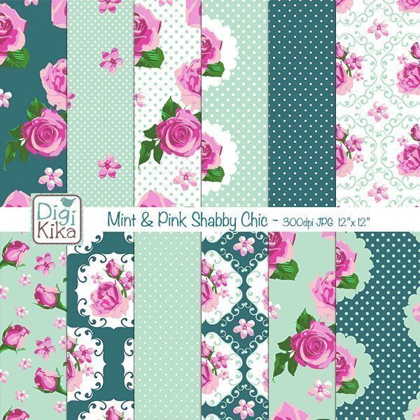 Mint and Pink Shabby Chic Digital Papers  Kika Digital    Mygrafico