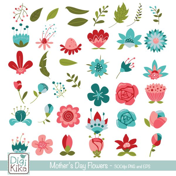 Mothers Day Flowers Cliparts Kika Digital    Mygrafico