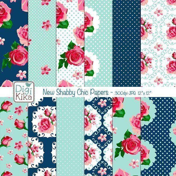 New Shabby Chic Digital Papers  Kika Digital    Mygrafico