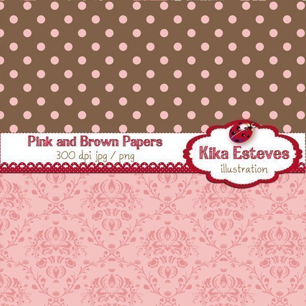 Pink and Brown Papers  Kika Digital    Mygrafico