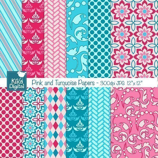 Pink and Turquoise Papers  Kika Digital    Mygrafico