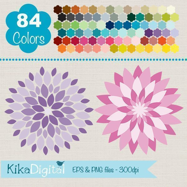 Rainbow Dhalias Huge Clipart Pack  Kika Digital    Mygrafico