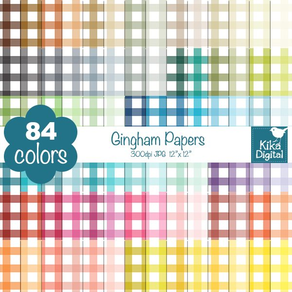 Rainbow Gingham Huge Paper Pack  Kika Digital    Mygrafico