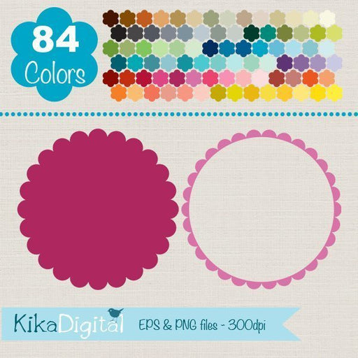 Rainbow Scallop Frames Huge Pack  Kika Digital    Mygrafico