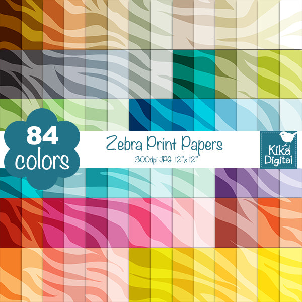Rainbow Zebra Print Huge Paper Pack Digital Papers & Backgrounds Kika Digital    Mygrafico
