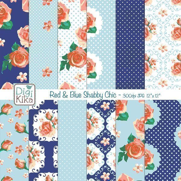 Red and Blue Shabby Chic Digital Papers  Kika Digital    Mygrafico