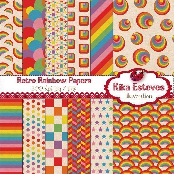 Retro Rainbow Papers  Kika Digital    Mygrafico
