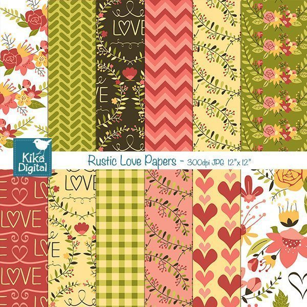 Rustic Love Papers  Kika Digital    Mygrafico