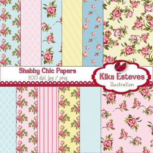 Shabby Chic Digital Papers  Kika Digital    Mygrafico