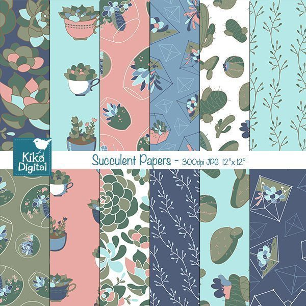 Succulent Digital Papers  Kika Digital    Mygrafico