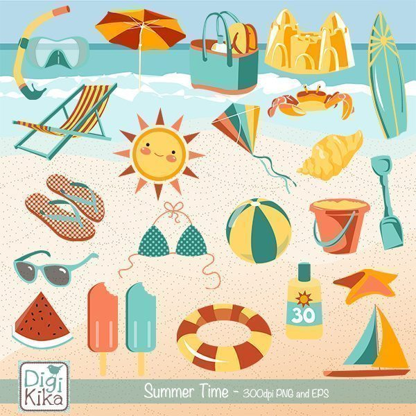 Summer Time Clipart  Kika Digital    Mygrafico