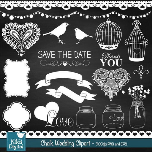 Chalkboard Wedding Clipart  Kika Digital    Mygrafico