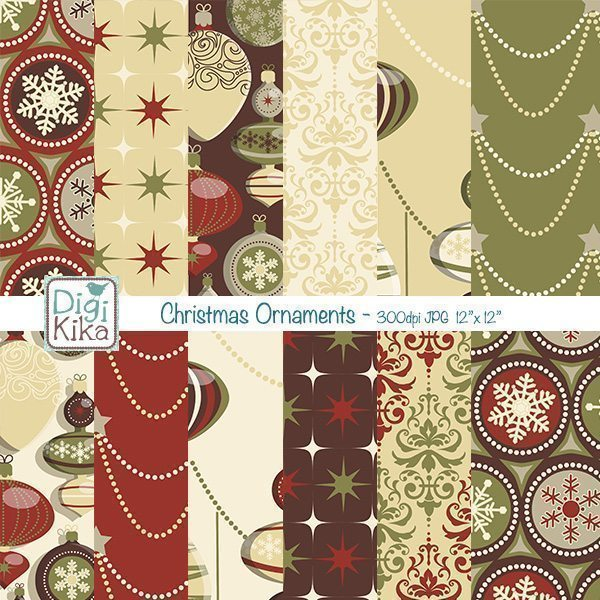 Christmas Ornaments Papers II  Kika Digital    Mygrafico