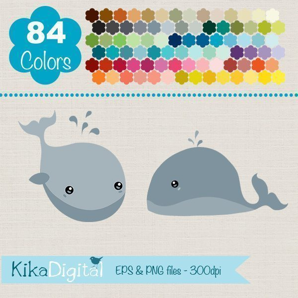 Rainbow Whale Huge Clipart Pack  Kika Digital    Mygrafico