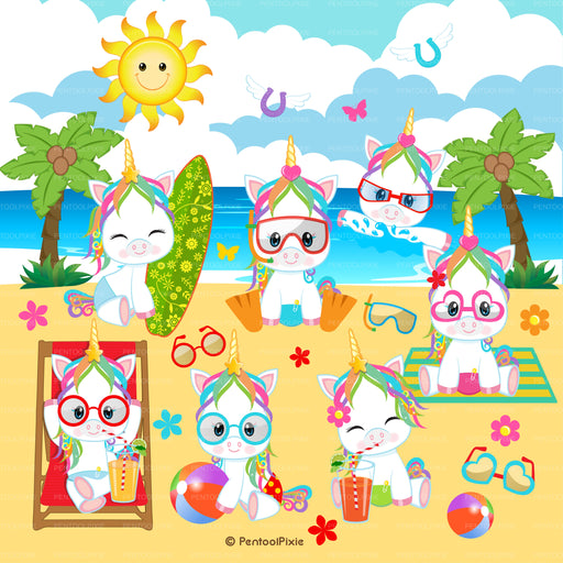 Summer fun Beach Unicorns clipart Cliparts PentoolPixie    Mygrafico