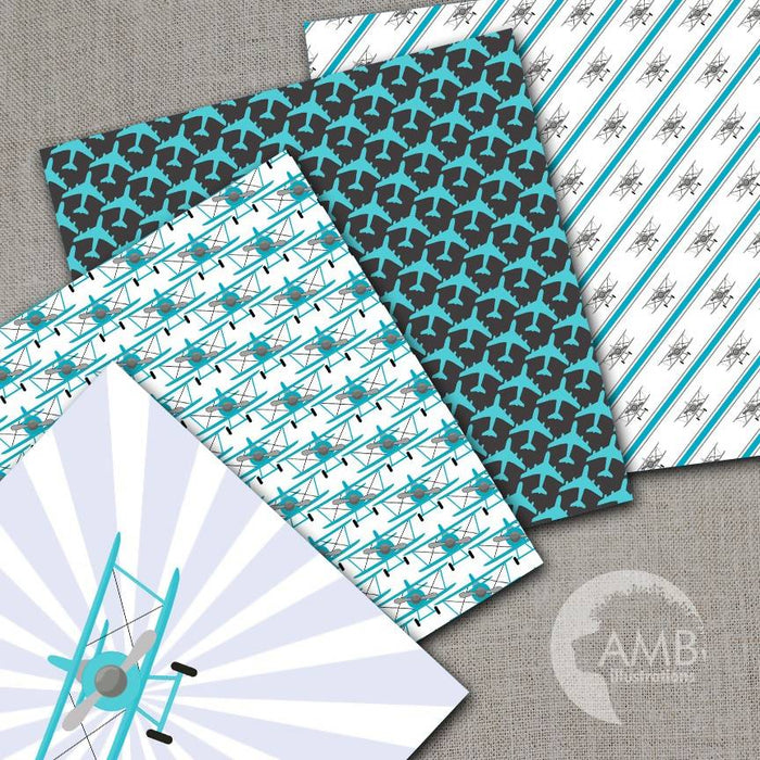 Airplane papers, Biplane papers, Teal and Black, Boy papers, Man papers, Color matching papers, Flying machine paper, Plane papers, AMB-1936 Digital Paper & Backgrounds AMBillustrations    Mygrafico
