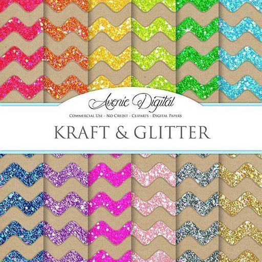 Kraft Glitter Digital Paper  Avenie Digital    Mygrafico
