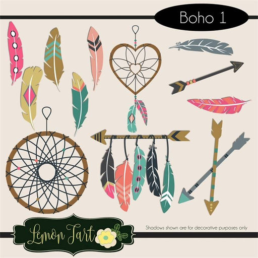Boho Style Feathers, arrows, and dream catchers Cliparts Lemon Tart    Mygrafico