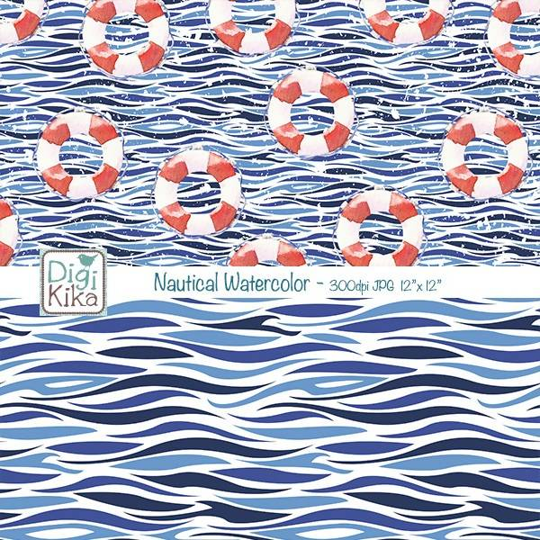 Nautical Watercolor Digital Papers, Nautical Scrapbook Paper - Navy Blue & Red Papers - Sea Background Digital Paper & Backgrounds DigiKika    Mygrafico