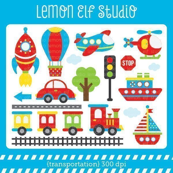 Transportation Boy Digital Clipart  Lemon Elf Studio    Mygrafico