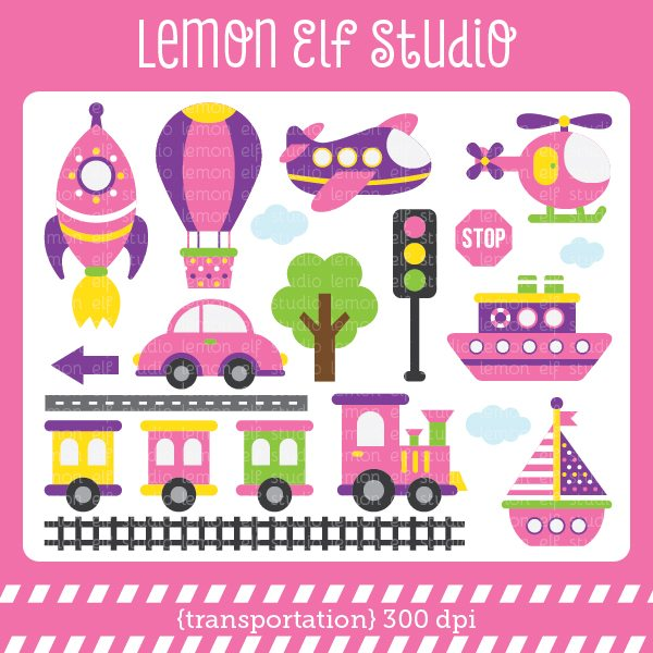 Transportation Girl Digital Clipart  Lemon Elf Studio    Mygrafico