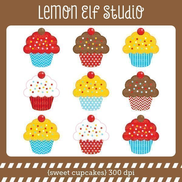 Sweet Cupcakes Boy Digital Clipart  Lemon Elf Studio    Mygrafico