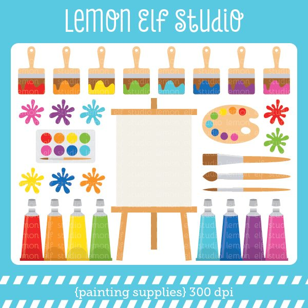 Painting Supplies Digital Clipart  Lemon Elf Studio    Mygrafico