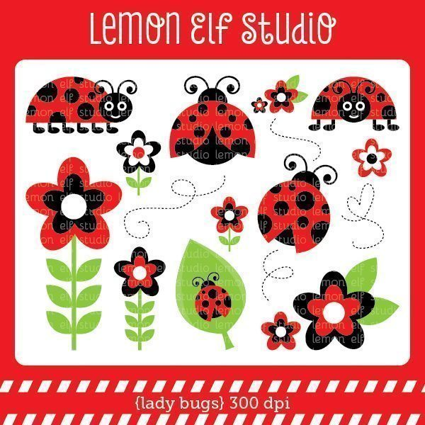 Lady Bugs Red Digital Clipart  Lemon Elf Studio    Mygrafico