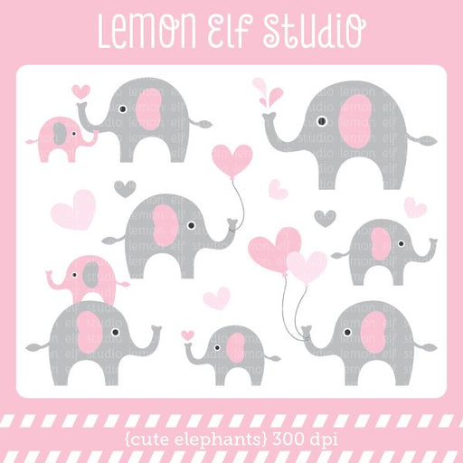 Cute Elephants Pink Digital Clipart  Lemon Elf Studio    Mygrafico