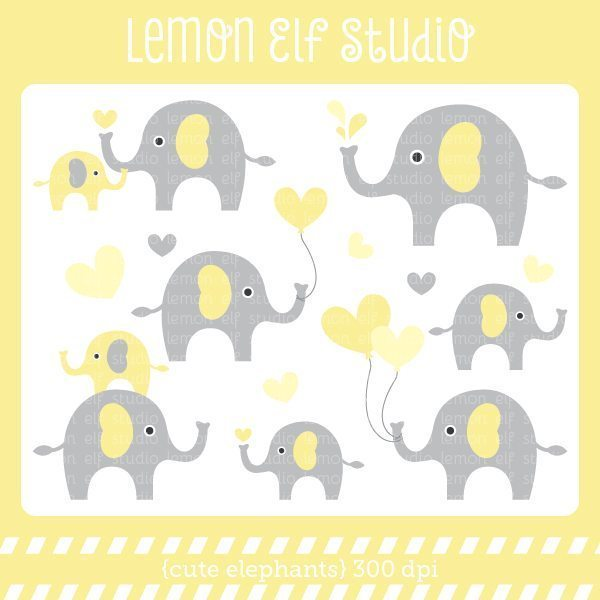 Cute Elephants Yellow Digital Clipart  Lemon Elf Studio    Mygrafico