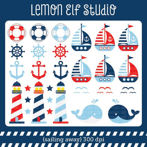 Sailing Away Boy Digital Clipart  Lemon Elf Studio    Mygrafico