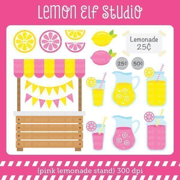Pink Lemonade Stand Digital Clipart  Lemon Elf Studio    Mygrafico