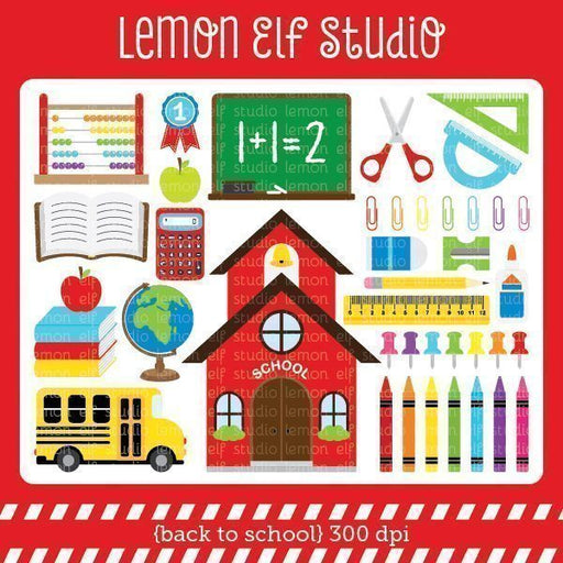 Back to School Digital Clipart  Lemon Elf Studio    Mygrafico
