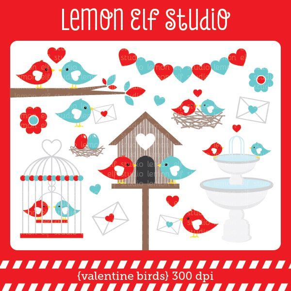 Valentine Birds Red Digital Clipart  Lemon Elf Studio    Mygrafico