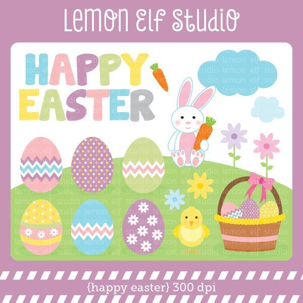 Happy Easter Digital Clipart  Lemon Elf Studio    Mygrafico
