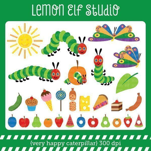Very Happy Caterpillar Digital Clipart  Lemon Elf Studio    Mygrafico