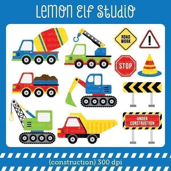 Construction Blue Digital Clipart  Lemon Elf Studio    Mygrafico