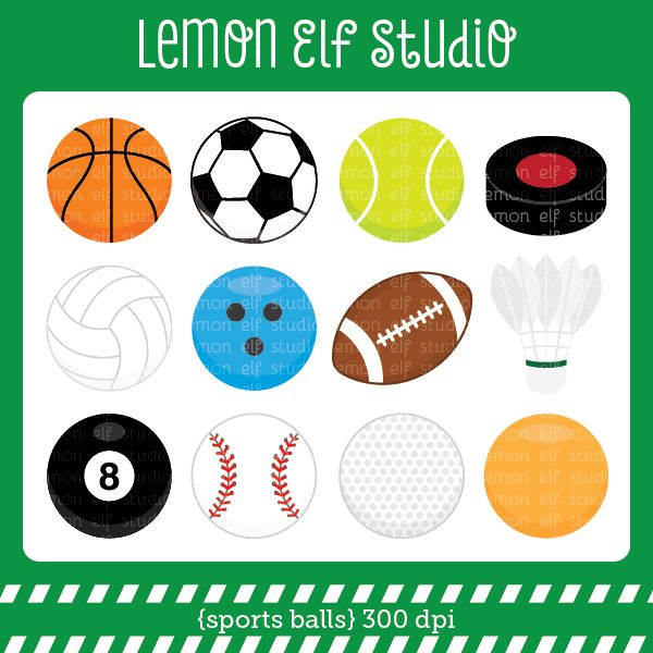 Sports Balls Digital Clipart  Lemon Elf Studio    Mygrafico