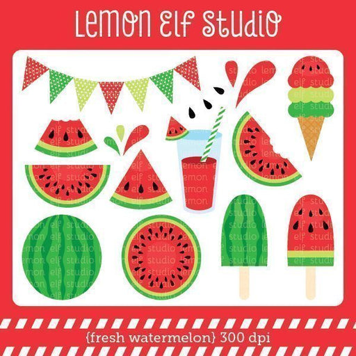 Fresh Watermelon Red Digital Clipart  Lemon Elf Studio    Mygrafico