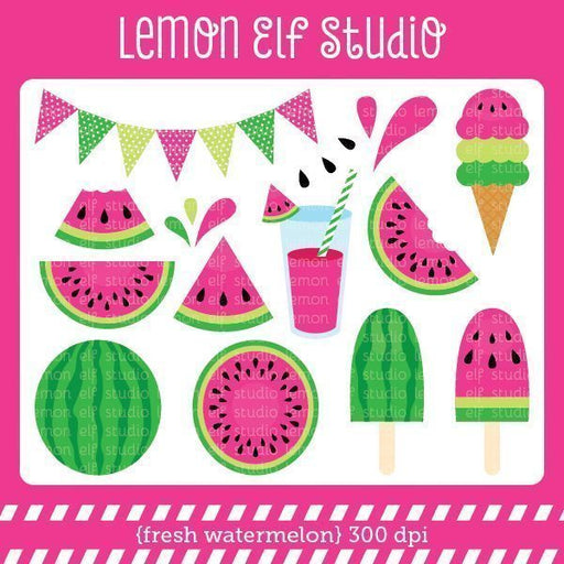 Fresh Watermelon Pink Digital Clipart  Lemon Elf Studio    Mygrafico
