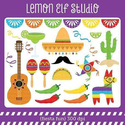 Fiesta Fun Red Digital Clipart  Lemon Elf Studio    Mygrafico