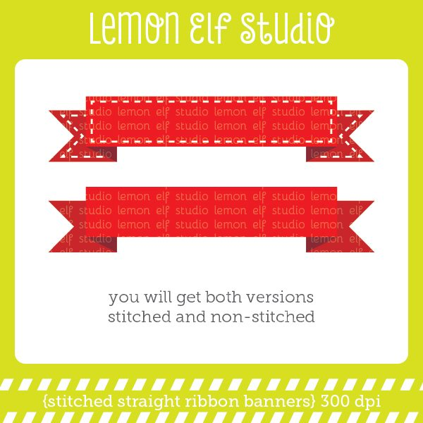 Stitched Straight Ribbon Banners Digital Clipart  Lemon Elf Studio    Mygrafico