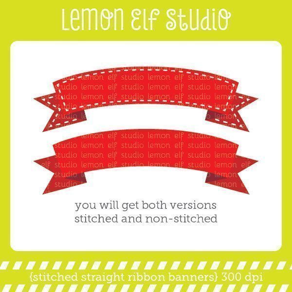 Stitched Curve Ribbon Banners Digital Clipart  Lemon Elf Studio    Mygrafico