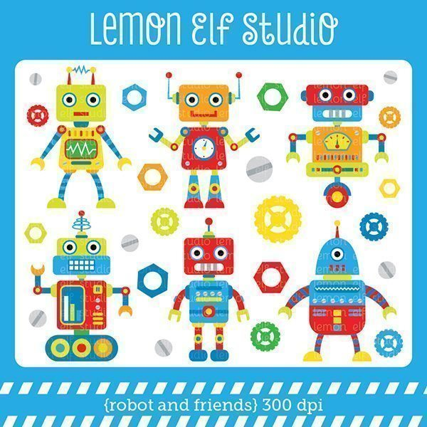 Robot and Friends Red Digital Clipart  Lemon Elf Studio    Mygrafico